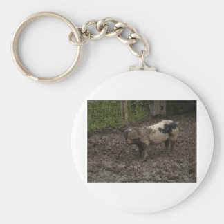 Pig in muck basic round button key ring