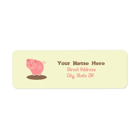 Pig In Mud Address Label