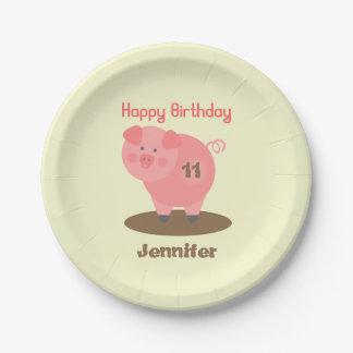 Pig In Mud Birthday 7 Inch Paper Plate