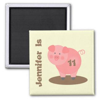 Pig in Mud Birthday Magnet