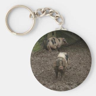 Pig in mud keychain