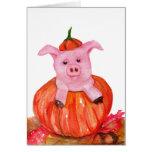 Pig in Pumpkin Greeting Cards