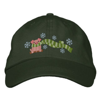 Pig In Scarf Embroidered Hat