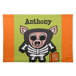 Pig in Skeleton Costume Trick or Treat Placemat
