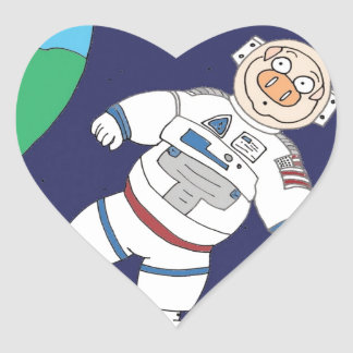 Pig In Space Heart Sticker