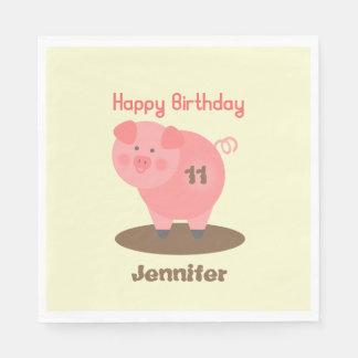 Pig In The Mud Birthday Napkins Disposable Serviette