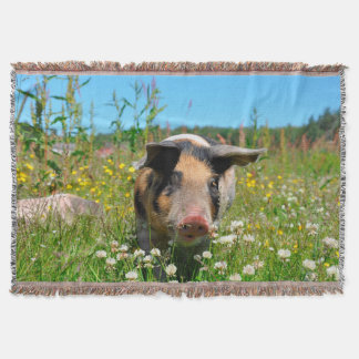 Pig in the Nature Throw Blanket