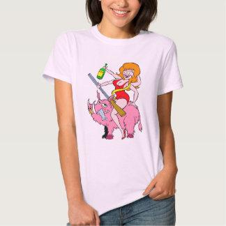 pig lady rides a hog tshirts