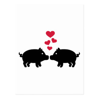 Pig love red hearts postcard