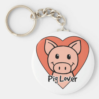 Pig Lover Basic Round Button Key Ring