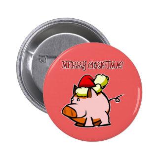 Pig Merry Christmas Button
