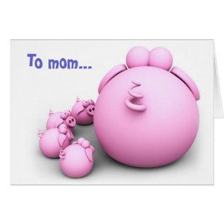 Pig mom greeting card