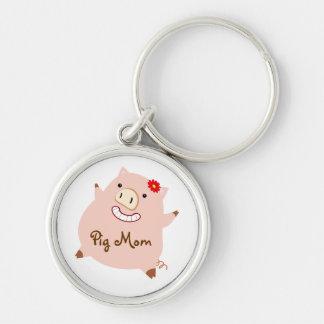 Pig Mom (pretty pig) Keychain