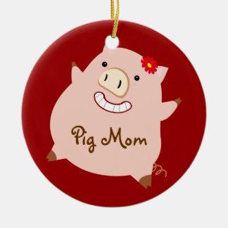 Pig Mom (pretty pig) Round Ceramic Decoration