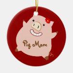 Pig Mum (pretty pig) Round Ceramic Decoration