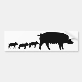 pig mum with three young pigs icon bumper sticker