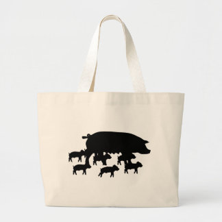 pig mum with young pigs icon large tote bag