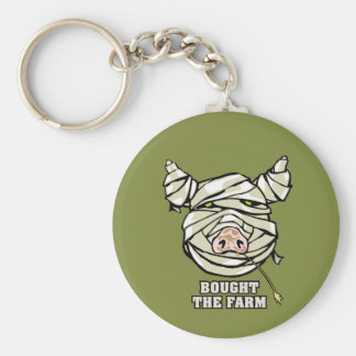 Pig Mummy Basic Round Button Key Ring