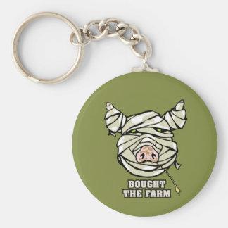Pig Mummy Basic Round Button Key Ring