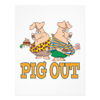 PIG OUT PIG FOOD CARTOON 21.5 CM X 28 CM FLYER