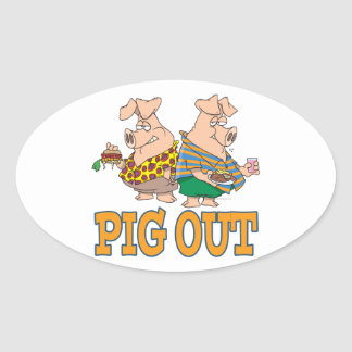 PIG OUT PIG FOOD CARTOON OVAL STICKER