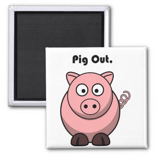 Pig Out Pink Piggy or Hog Barbeque Cartoon Refrigerator Magnet