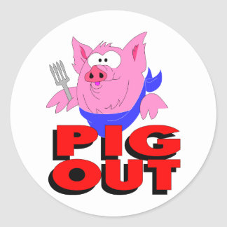 pig out round stickers