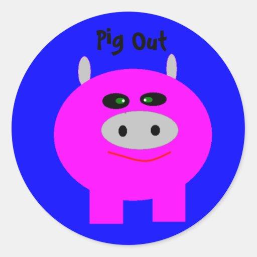 Pig Out Round Sticker