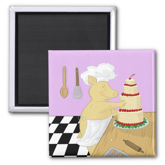 Pig Pastry Chef Refrigerator Magnet