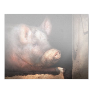 """Pig - Piggy number two 4.25"""" X 5.5"""" Invitation Card"""