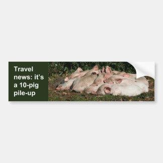 Pig pile-up bumper sticker