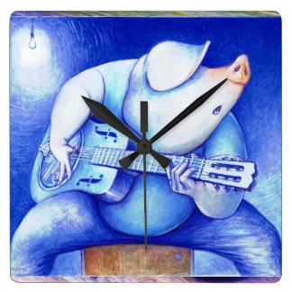 Pig playing guitar wallclock