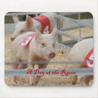 Pig racing, Pig race photograph, pink pig Mouse Pad
