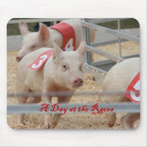 Pig racing, Pig race photograph, pink pig Mouse Pads