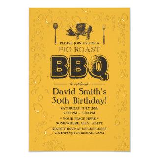 Pig Roast BBQ & Beer Birthday Party Card