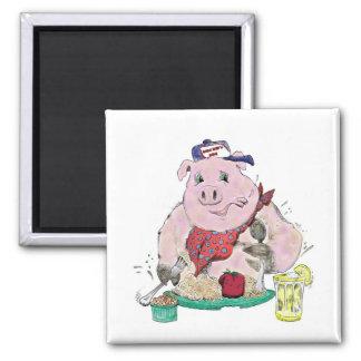 Pig Roast Square Magnet