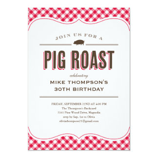Pig Roast Table Cloth Invitations