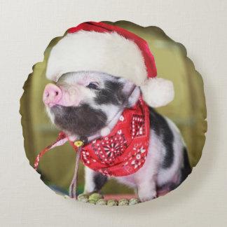 Pig santa claus - christmas pig - piglet round cushion
