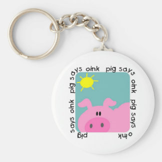 Pig Says Oink T-shirts and Gifts Basic Round Button Key Ring