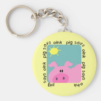 Pig Says Oink Tshirts and Gifts Basic Round Button Key Ring