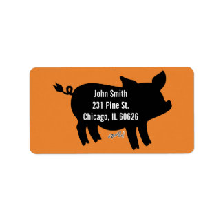 Pig Silhouette Address Label
