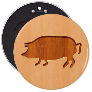 Pig silhouette engraved on wood design 6 cm round badge