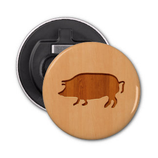 Pig silhouette engraved on wood design bottle opener
