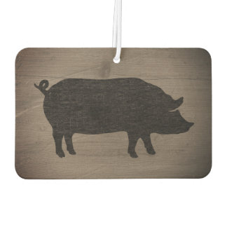 Pig Silhouette Rustic Style Car Air Freshener