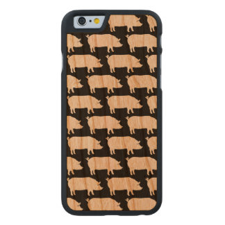 Pig Silhouettes Pattern Carved Cherry iPhone 6 Case