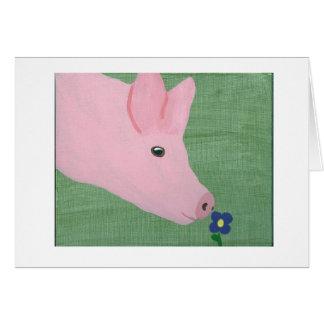 Pig smelling Flower Greeting Card