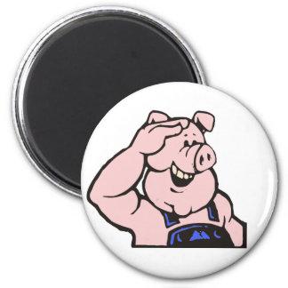Pig sow craftsman pig hog artisan craftsman 6 cm round magnet