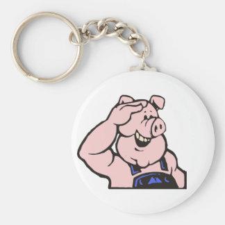 Pig sow craftsman pig hog artisan craftsman basic round button key ring