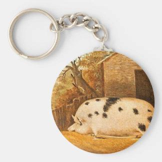 Pig Spotted Hog Vintage Farm Painting Keychain