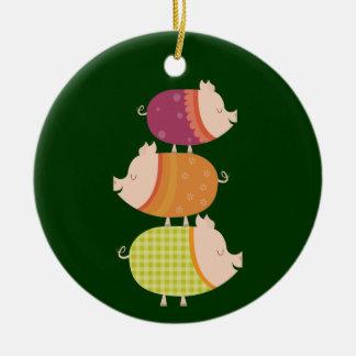 Pig Stack (3 piggies) Christmas Ornament